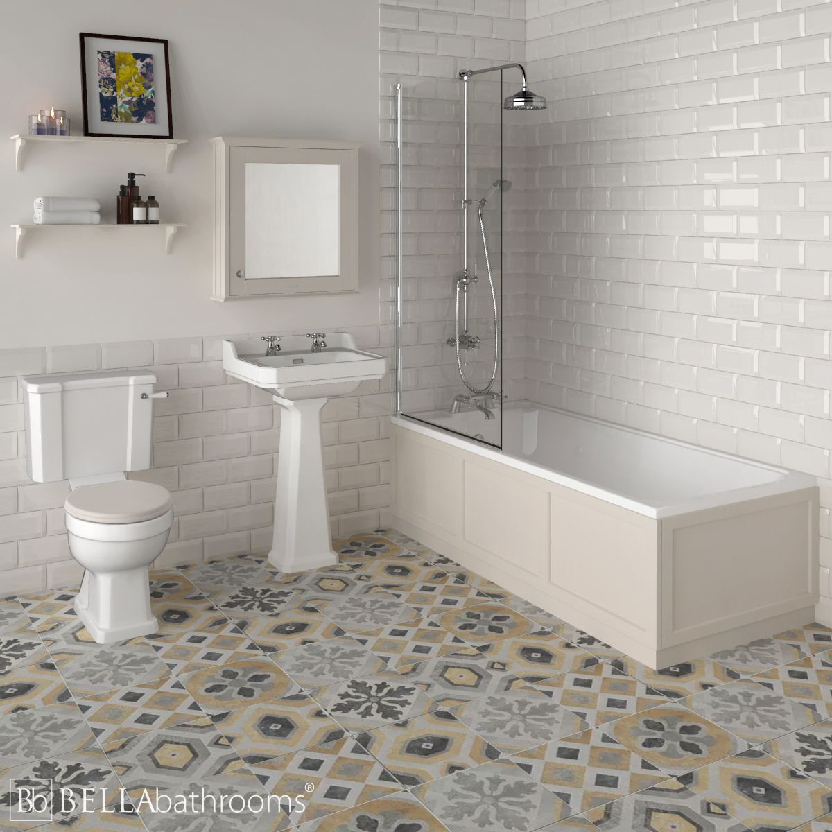 Hudson Reed Richmond Traditional Shower Bath Suite Timeless Sand