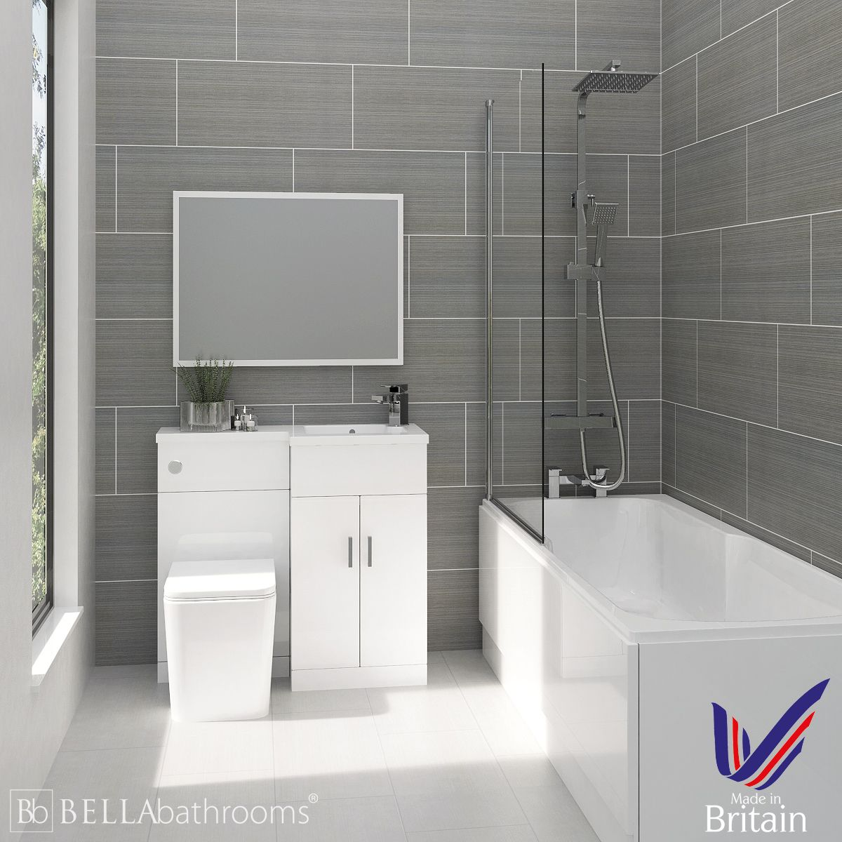 Elation Combination L Shape White Furniture Suite and Nuie Linton Shower Bath Right Hand