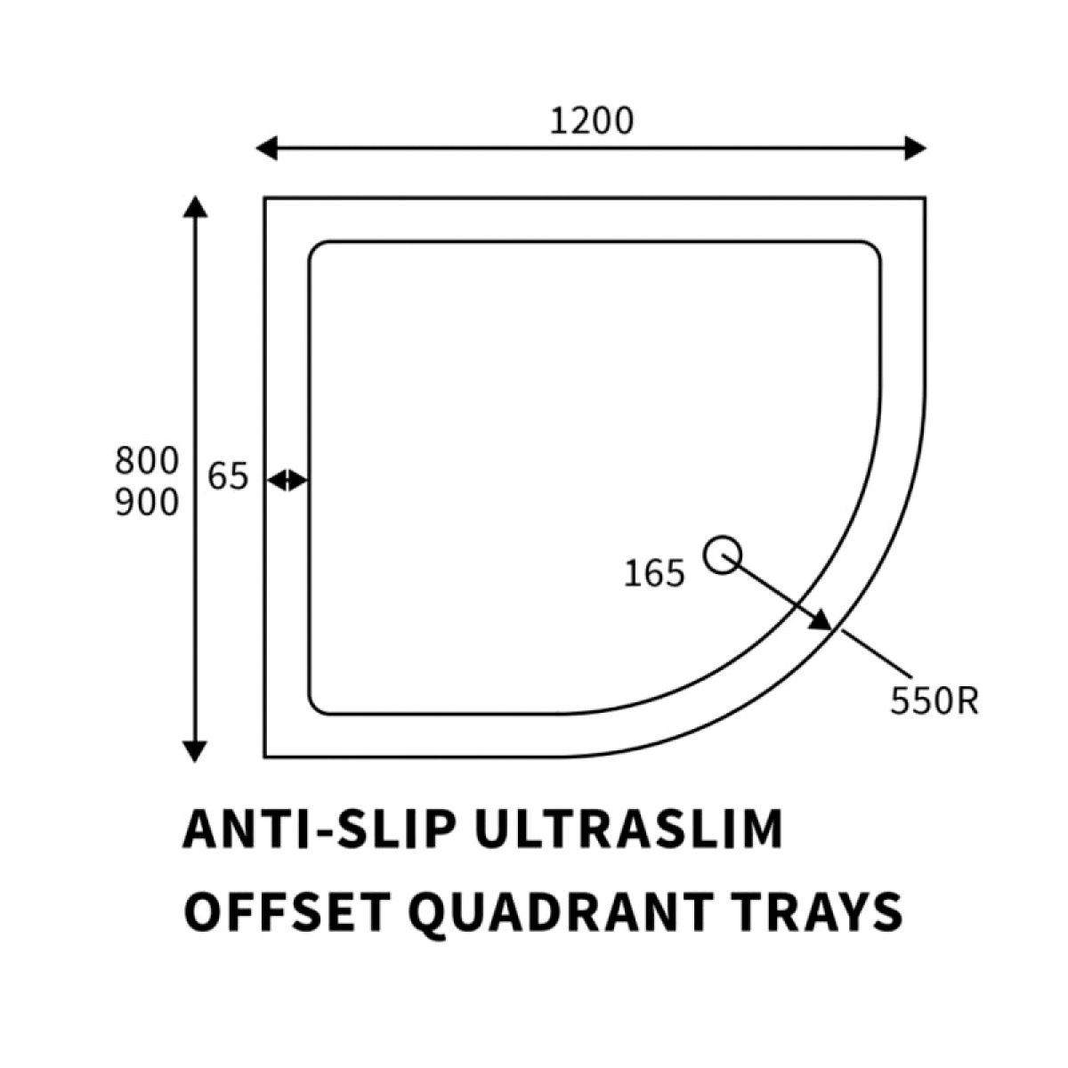 Right Hand Offset Quadrant Anti-Slip Shower Tray 1200mm x 900mm Line Drawing