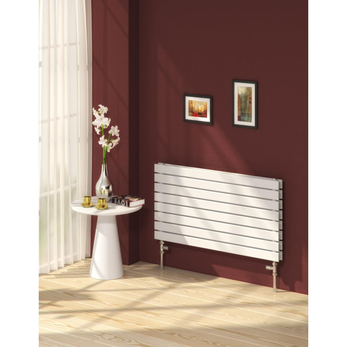 Reina Rione Double Electric Horizontal Radiator 550 x 600mm in White