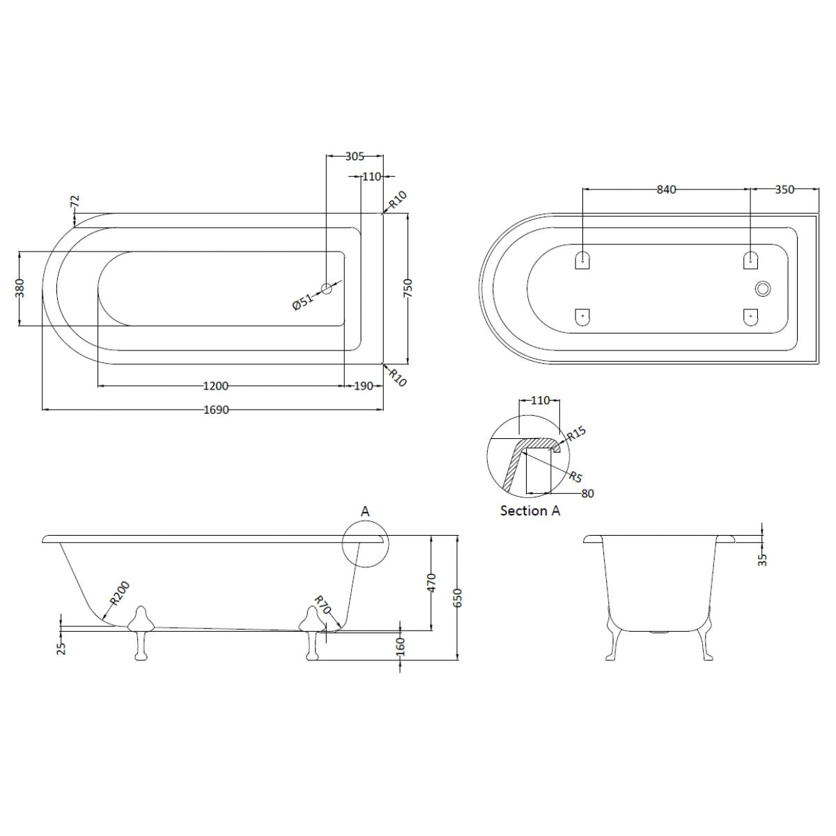 Roll Top Shower Bath 1700mm Drawing