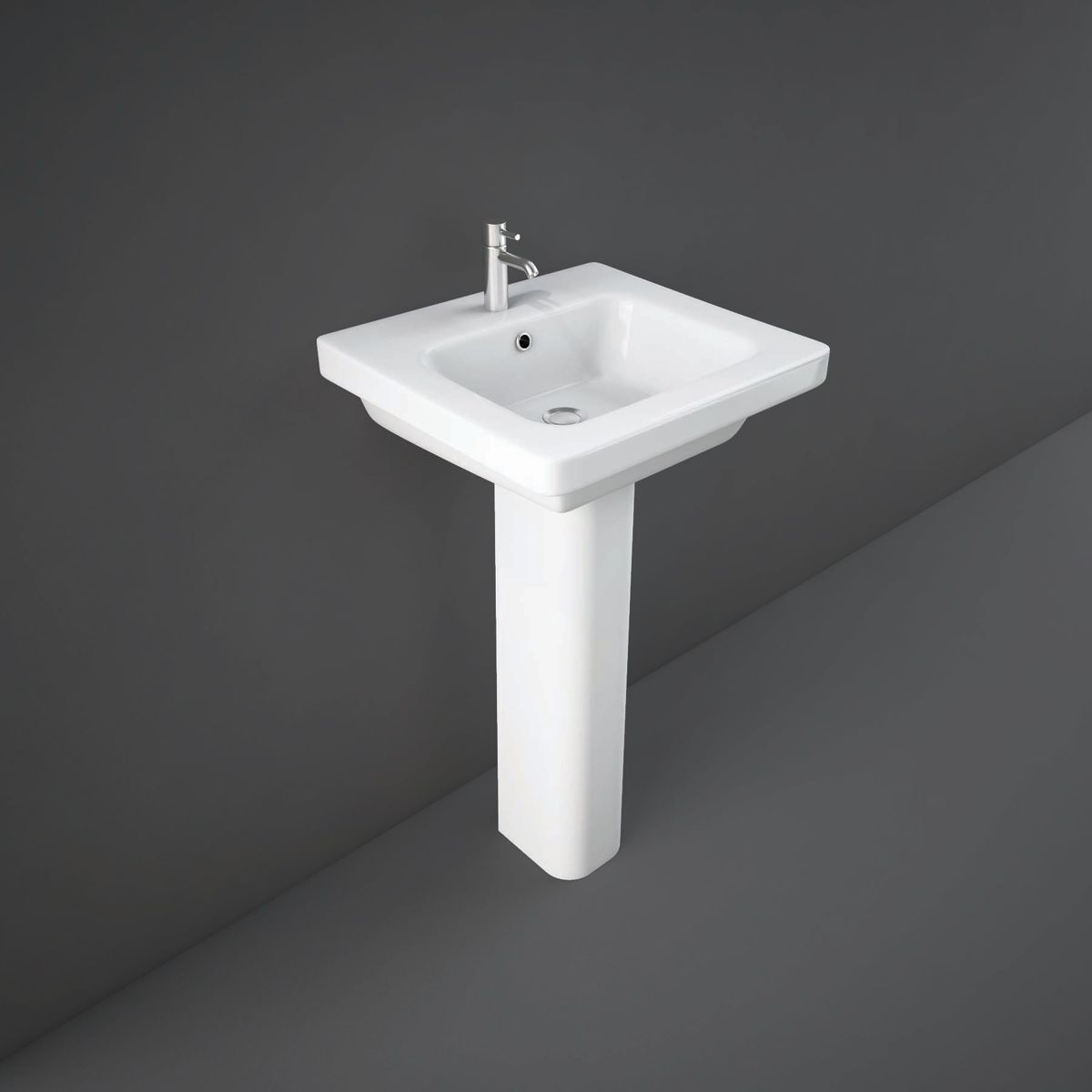 RAK Resort Basin 1 Tap Hole 550mm with Full Pedestal