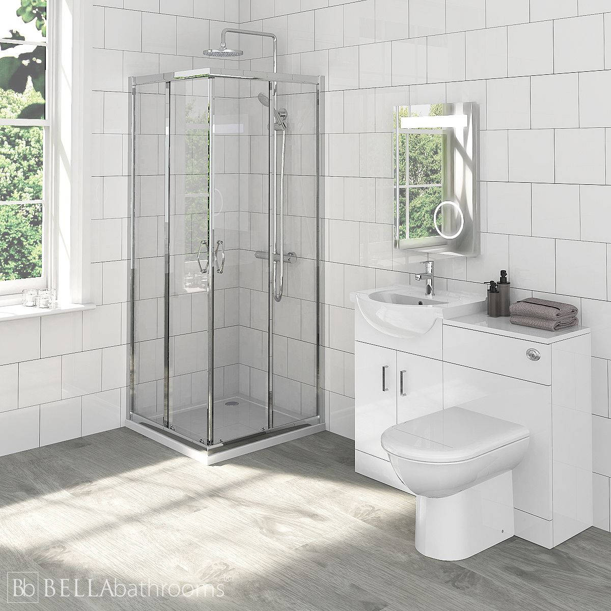 Saturn Bathroom Furniture Pack with Ella Corner Entry Shower Enclosure