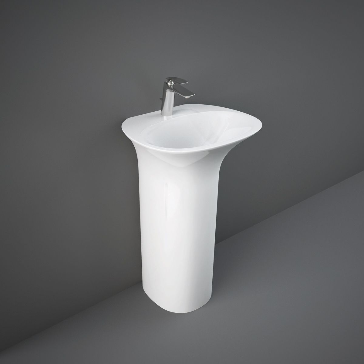 RAK Sensation Gloss White 1 Tap Hole Freestanding Basin 550mm