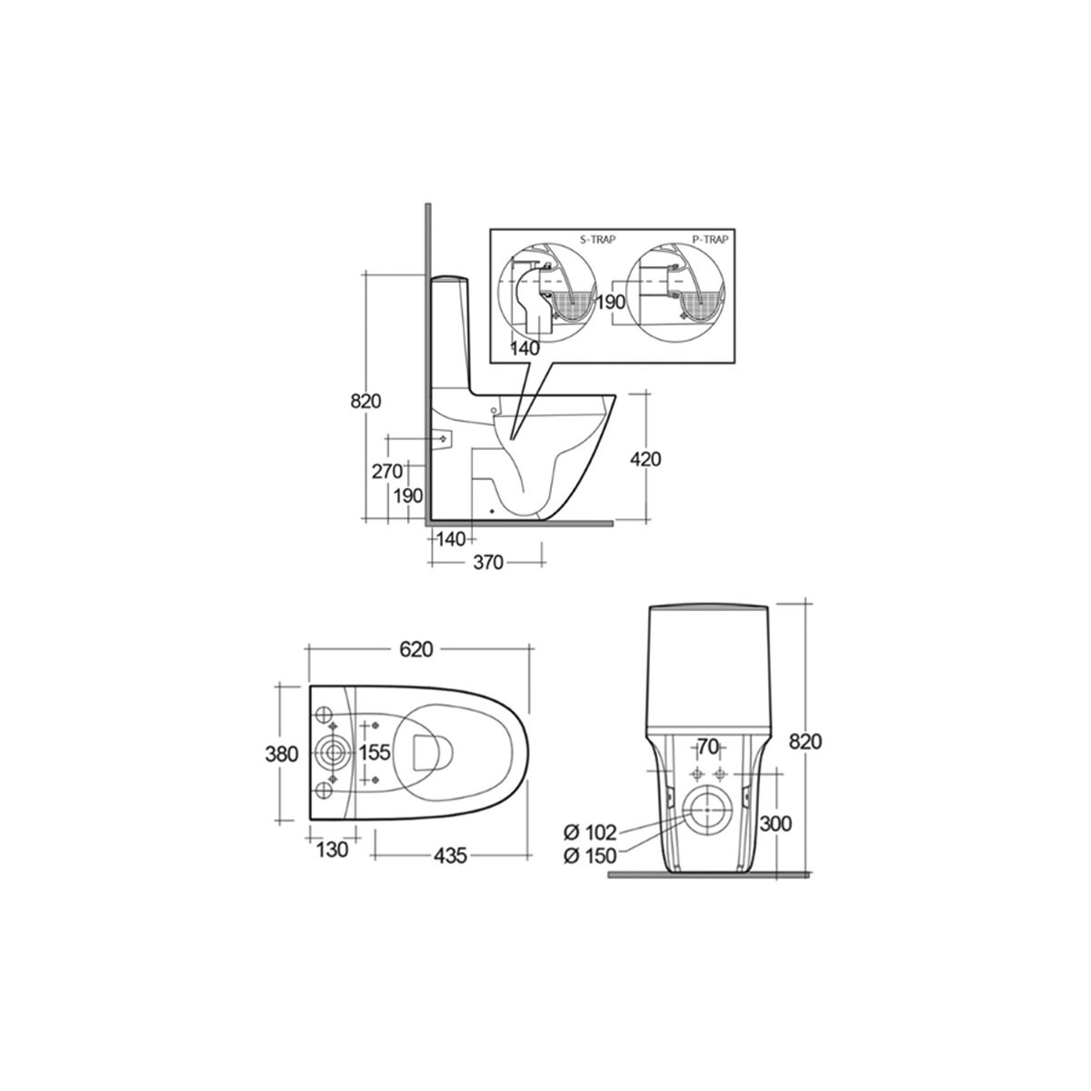 RAK Sensation Close Coupled Back To Wall Touchless Flush Toilet with Soft Close Seat Measurements