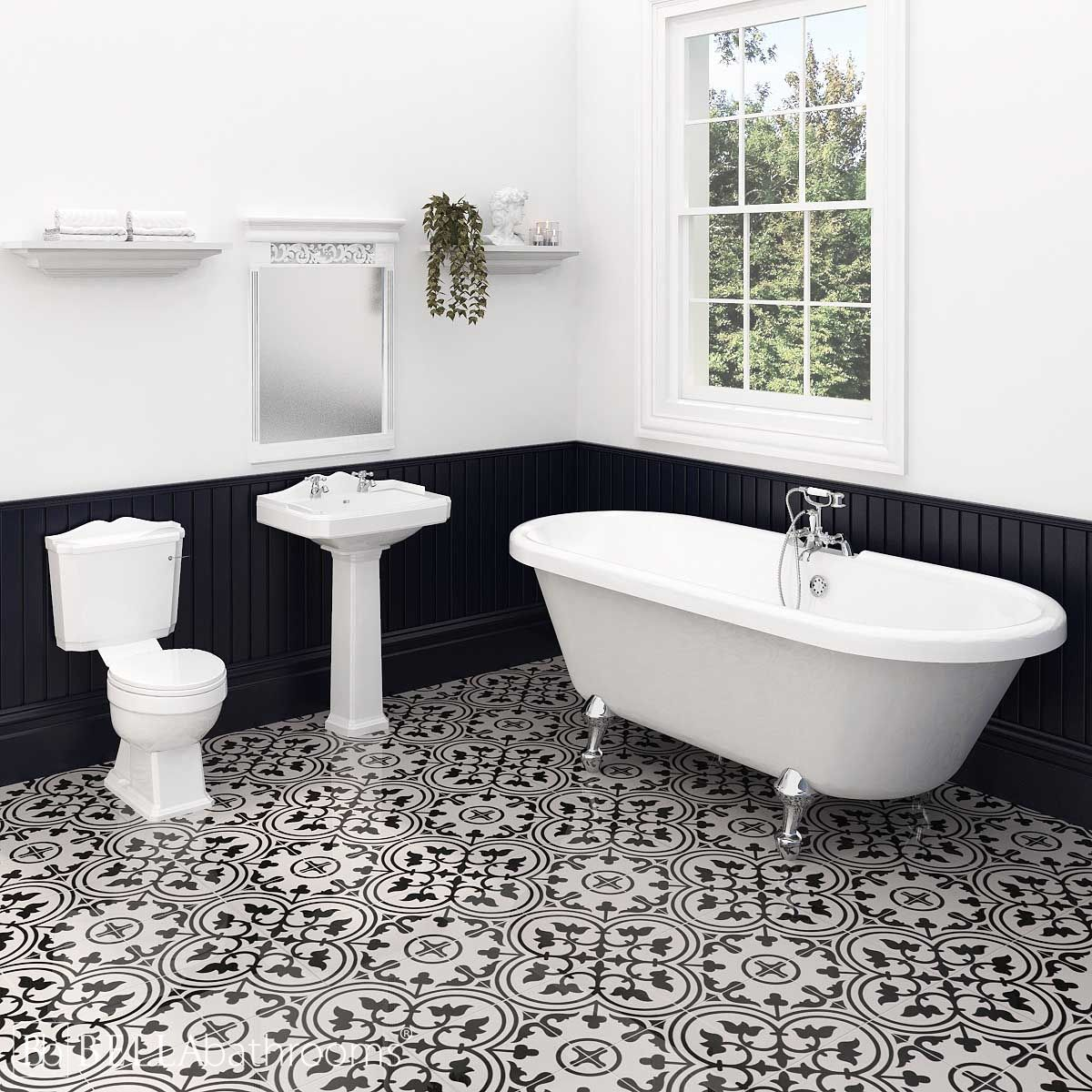 Nuie Legend Traditional Bathroom Suite with Skipton Freestanding Bath