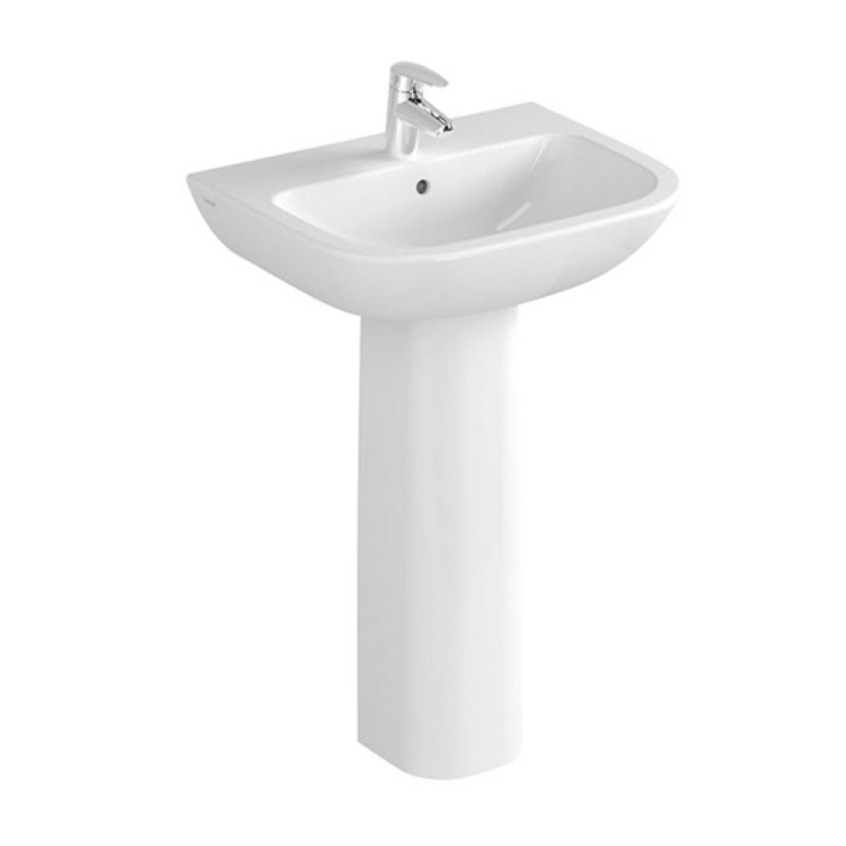 Vitra S20 1 Tap Hole Cloakroom Basin with Full Pedestal 450mm
