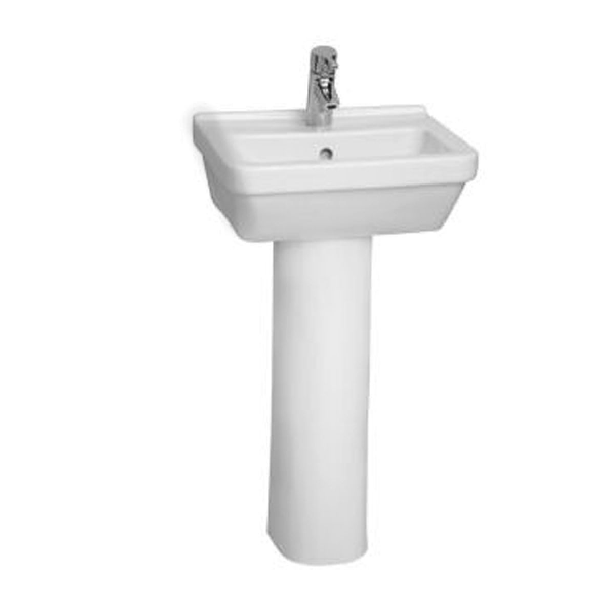 Vitra S50 1 Tap Hole Square Basin with Full Pedestal 450mm