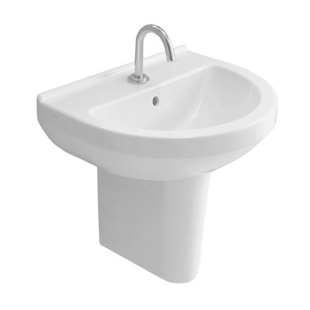 Vitra S50 1 Tap Hole Round Basin with Semi Pedestal 550mm