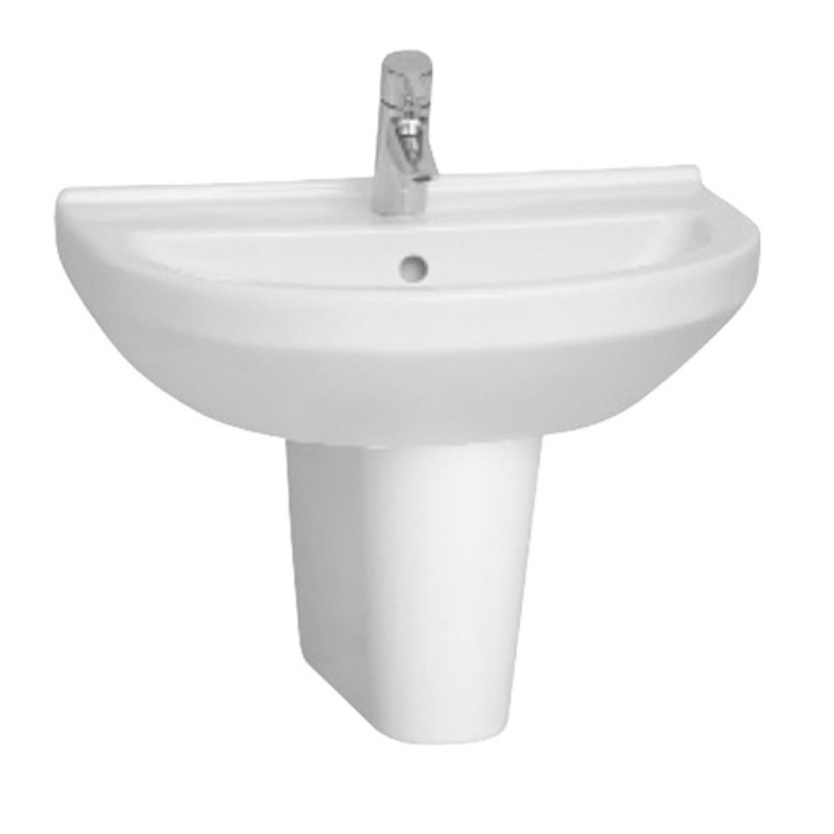 Vitra S50 1 Tap Hole Round Basin with Semi Pedestal 600mm