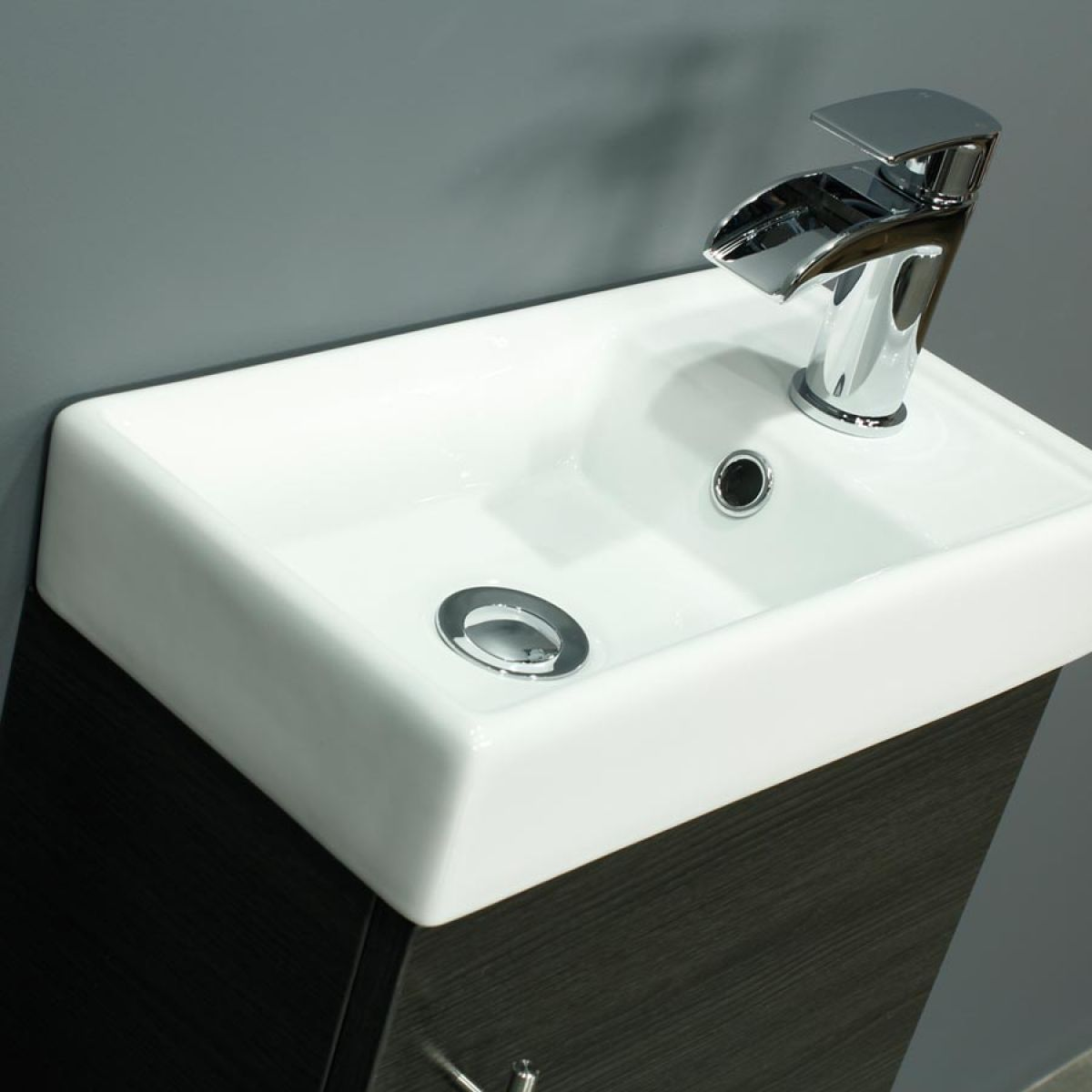 Cassellie 400 Series Black Ash Single Door Vanity Unit Basin