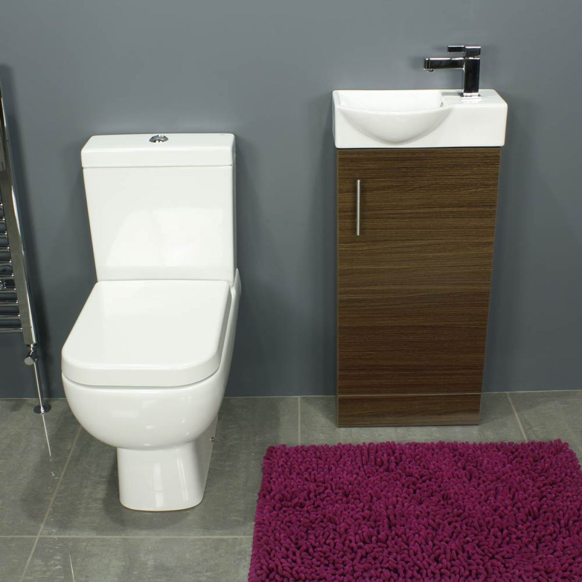 RAK Series 600 Close Coupled Toilet and 400 Series Walnut Mini Vanity Unit Front