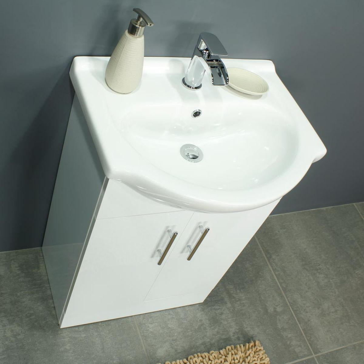 RAK Series 600 Back To Wall Toilet and 550 Series Gloss White Vanity Unit Doors Closed