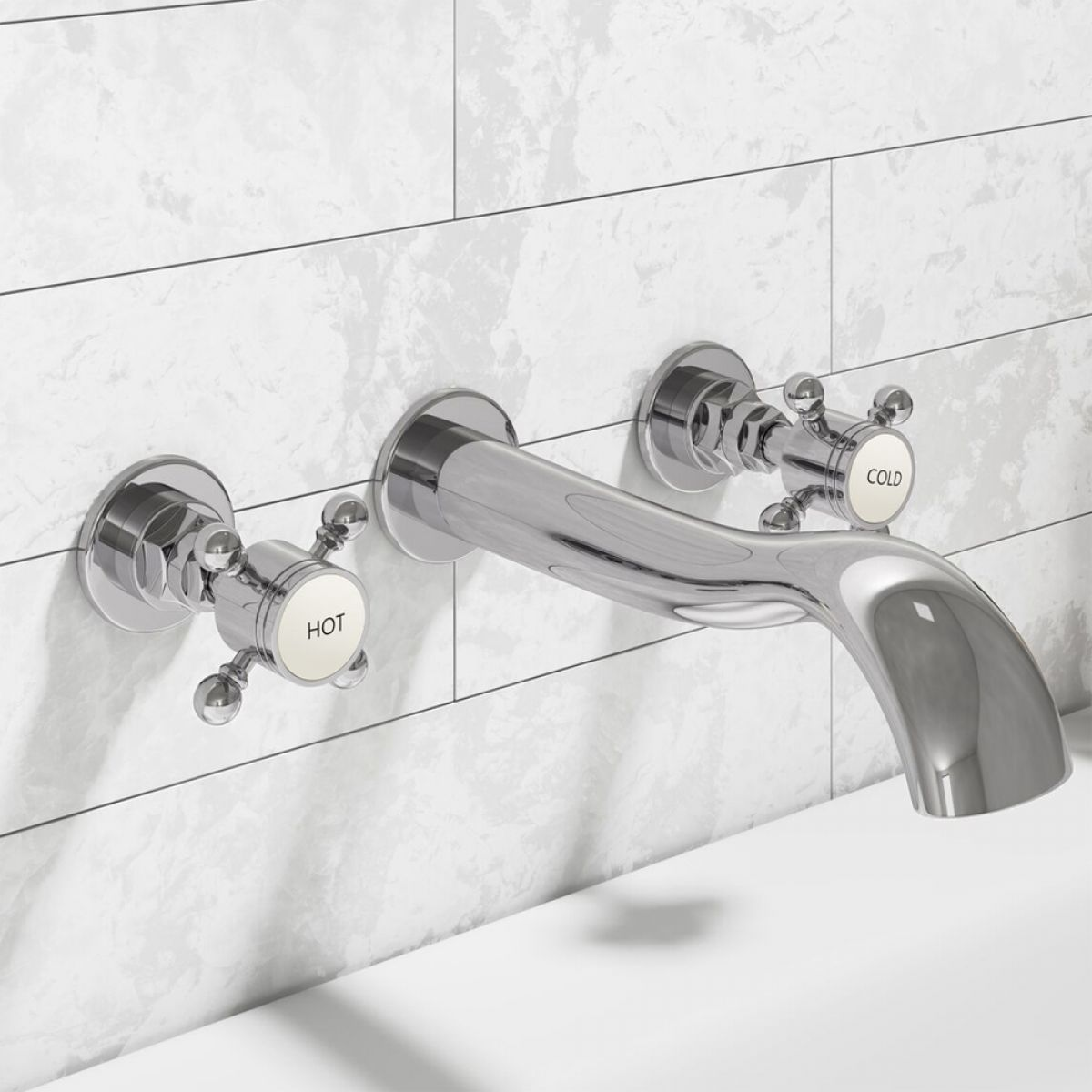 Zenith Belgrade Traditional Wall Mounted Basin Mixer Tap Lifestyle