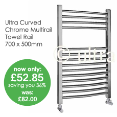 Curved Chrome Multirail Towel Rail