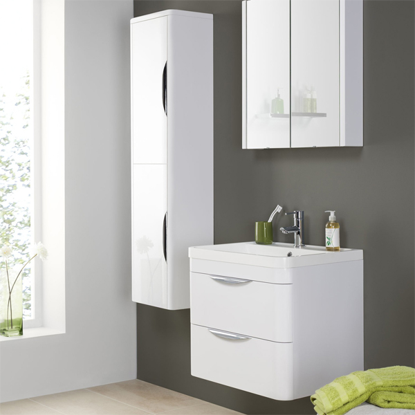 Premier parade high gloss white floor standing 2 drawer for Floor standing bathroom furniture